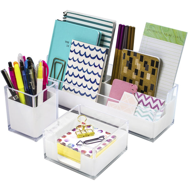Sorbus Acrylic Desk Organizers Set - 3-Piece, Includes Desk Organizer Caddy, Memo Tray and Pen Cup, Modern Desk Accessories Organizer Great for Home or Office, White Clear (Desk Organizer Set)
