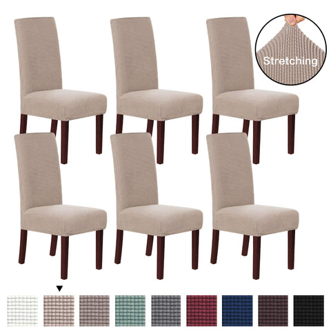 H.VERSAILTEX 6 Pack Stretch Dining Room Chair Slipcovers Sets, Stretch Chair Furniture Protector Covers Removable Washable Elastic Bottom Chair Cover for Dining Room, Hotel, Ceremony - Sand