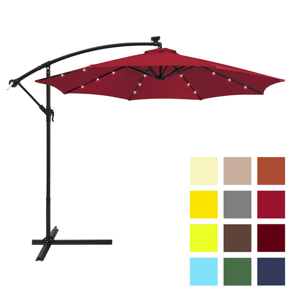 Best Choice Products 10ft Solar LED Offset Hanging Market Patio Umbrella w/Easy Tilt Adjustment, Polyester Shade, 8 Ribs for Backyard, Poolside - Red