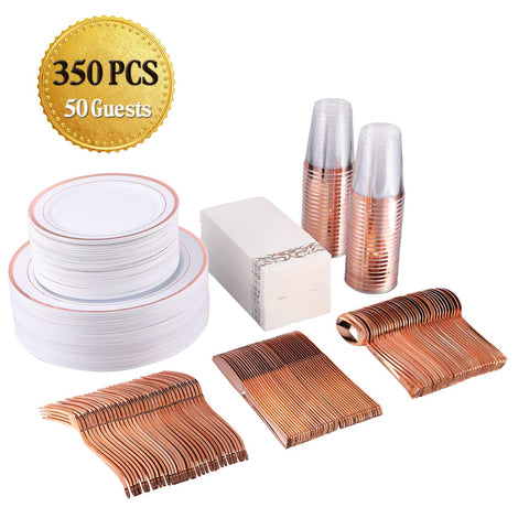 FOCUS LINE 350 Piece Disposable Rose Gold Dinnerware Set for Party or Wedding-100 Plastic Plates - 50 Plastic Silverware - 50 Plastic Cups - 50 Linen Like Rose Gold Paper Napkins(50 Guest)