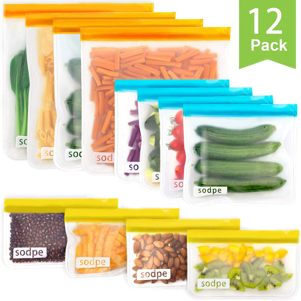 Reusable Storage Bags, SODPE BPA FREE Freezer Bag, 4extra big lunch bag, 4 big sandwich bags and 4 snack bags Seal Zip lock Bag Eco-friendly leakproof Lunch Bag for food storage organization,12 Packs