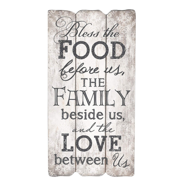 P. Graham Dunn Bless The Food, Family and Love 12 x 6 Fence Post Wood Look Wall Art Plaque