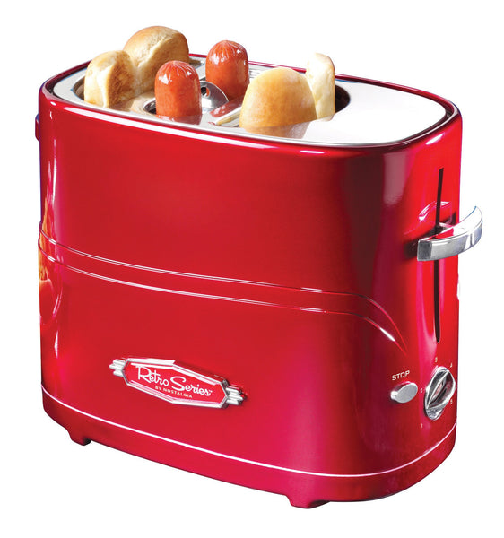 Nostalgia HDT600RETRORED Retro Pop-Up 2 Hot Dog & Bun Toaster, with Mini Tongs, Works with Chicken, Turkey, Veggie Links, sausages & Brats