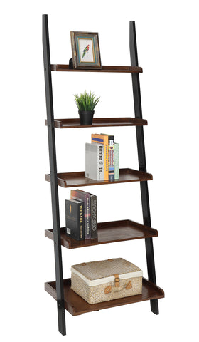 Convenience Concepts French Country Bookshelf Ladder, Dark Walnut & Black