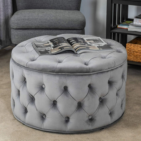 Homebeez Velvet Round Storage Ottoman, Button-Tufted Footrest Stool Bench, Upholstered Coffee Side Table (Grey)