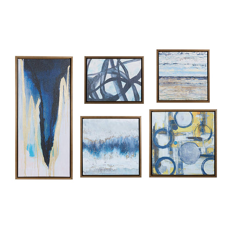 Madison Park Wall Deco Bronze Blue Bliss Galary 5-Piece Set, Canvas in Decor Boxes, Abstract Style Framed Art, Natural