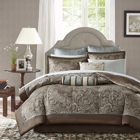 Madison Park Aubrey King Size Bed Comforter Set Bed In A Bag - Blue, Brown , Paisley Jacquard - 12 Pieces Bedding Sets - Ultra Soft Microfiber Bedroom Comforters
