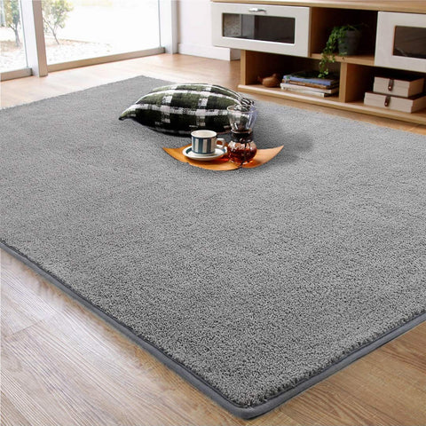 LOCHAS Soft Shag Area Rug for Bedroom Living Room, Shaggy Fuzzy Rugs, Washable Carpet Floor Rugs for Kids Dorm Indoor Mat, 3 x 5 Feet Gray