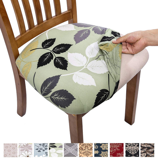 Comqualife Stretch Printed Dining Chair Seat Covers, Removable Washable Anti-Dust Upholstered Chair Seat Cover for Dining Room, Kitchen, Office (Set of 6, Green Leaves)