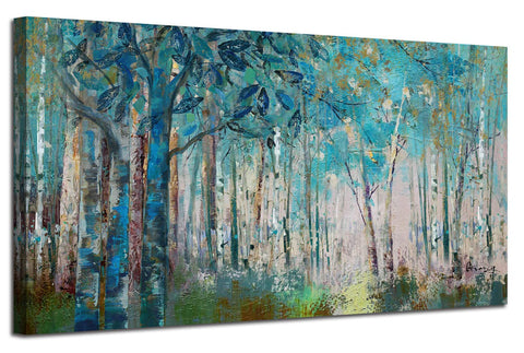 Ardemy Canvas Wall Art Blue Tree Forest Landscape Picture Prints, Modern Birch Trees Nature Woods Abstract Painting Artwork Extra Large Framed for Home Office Living Room Bedroom Decor, 60