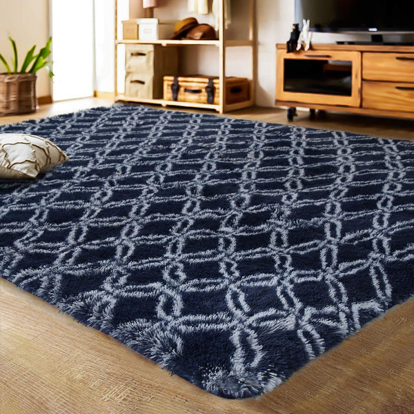 LOCHAS Luxury Velvet Shag Area Rug Mordern Indoor Plush Fluffy Rugs, Extra Soft and Comfy Carpet, Geometric Moroccan Rugs for Bedroom Living Room Girls Kids Nursery (5x8 Feet, Dark Blue/White, HS8)