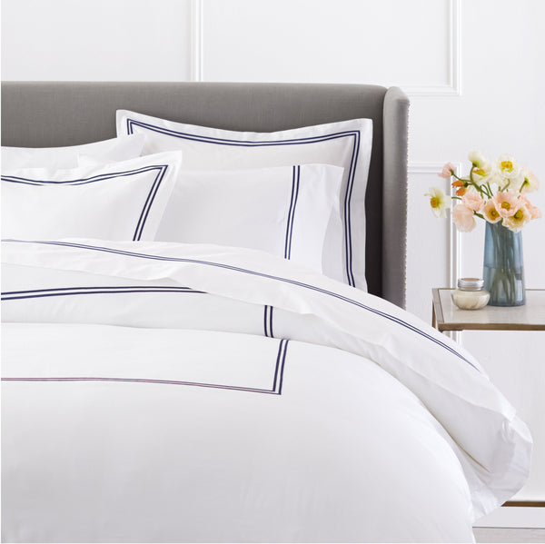 Pinzon 400 Thread Count Egyptian Cotton Sateen Hotel Stitch Duvet Cover - King, Navy Blue