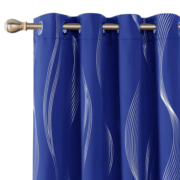 Deconovo Foil Print Wave Design Blackout Curtains Grommet Top Window Curtain for Kids Room 2 Curtain Panels 52 by 63 Inch Royal Blue