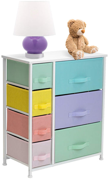 Sorbus Dresser with 7 Drawers - Furniture Storage Tower Chest for Kid's, Teens, Bedroom, Nursery, Playroom, Closet, Clothes, Toy Organization - Steel Frame, Wood Top, Easy Pull Fabric Bins (Pastel)