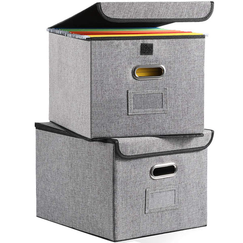 Collapsible File Organizer Boxes [2-Pack] Decorative Linen Storage Hanging Filing Folders with Lids Office Gray for Letter Size and Legal Size