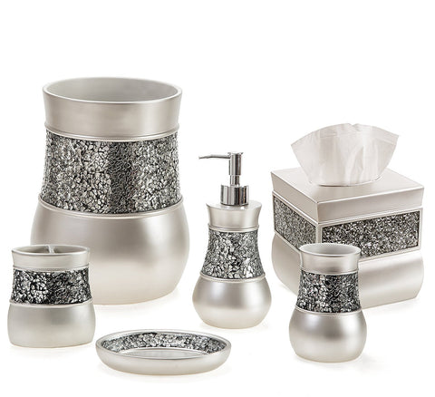 Creative Scents Bathroom Accessories Set, Decorative 6 Piece Bath Accessories Set Features Soap Dispenser, Toothbrush Holder, Tumbler, Soap Dish, Square Tissue Cover & Trash Can (Silver Colored)