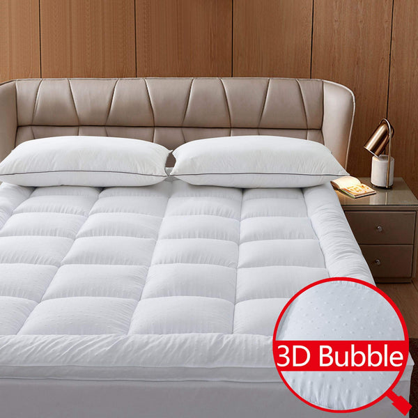 Naluka Mattress Topper Twin Featherbed 3D Bubble Microfiber Mattress Pad with Deep Pocket - Extra Thick 2