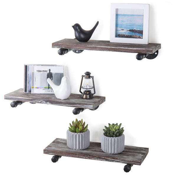 MyGift Urban Rustic Wall-Mounted Torched Wood Floating Shelves, Set of 3