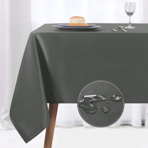 NLMUVW Rectangle Table Cloth, Waterproof Oblong Tablecloth, Microfiber Fabric Table Cover for Party Picnic Outdoor and Indoor Use (60 x 84 Inch, Grey)