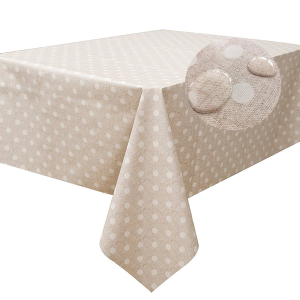 LEEVAN Heavy Weight Vinyl Square Table Cover Wipe Clean PVC Tablecloth Oil-Proof/Waterproof Stain-Resistant-54 x 84 Inch (Polka Dot)