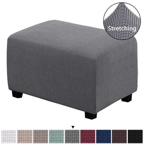 Ottoman Slipcovers Rectangle Charcoal Gray Footrest Sofa Slipcovers Footstool Protector Covers Stretch Fabric Storage Ottoman Covers, High Spandex Lycra Slipcover Machine Washable / Skid Resistance