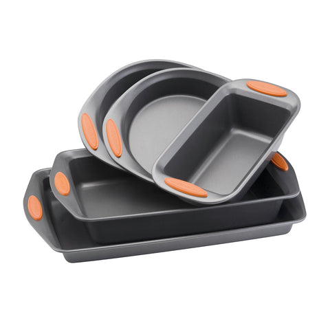 Rachael Ray 55673 Nonstick Bakeware Set with Grips includes Nonstick Bread Pan, Baking Pans and Cake Pans - 5 Piece, Gray with Orange Grips