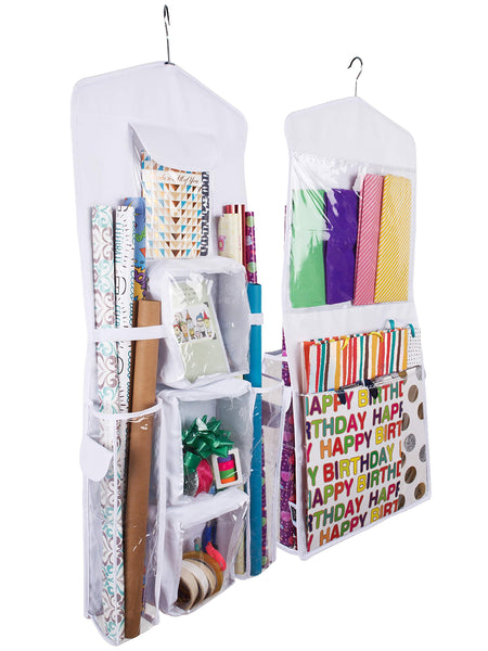 Regal Bazaar Double-Sided Hanging Gift Bag and Gift Wrap Organizer (White)