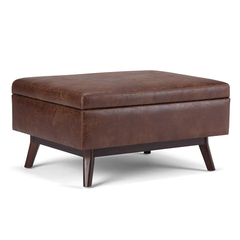 Simpli Home AXCOT267S-DSB Owen 34 inch Wide Mid Century Modern Rectangle Coffee Table Storage Ottoman in Distressed Saddle Brown Faux Air Leather