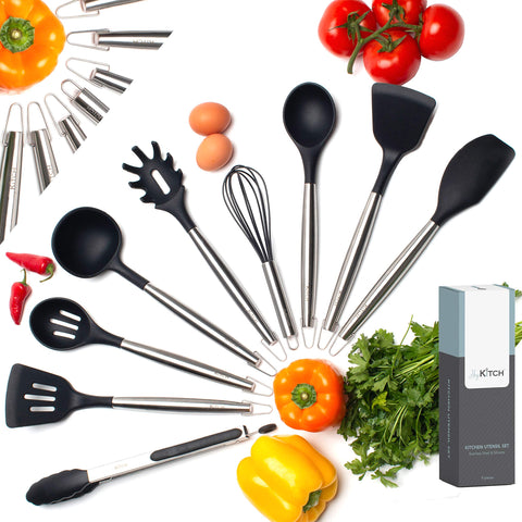 HeyKITCH Kitchen Utensil Set - 9 Piece Black Utensil Set - Stainless Steel & Silicone Utensil Set - Non Scratch & Heat Resistant Spatulas, Cooking Spoons, Whisk, Tongs - Kitchen Tools and Gadgets