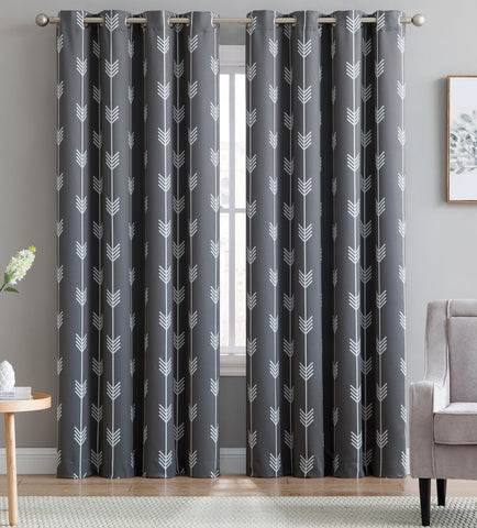 HLC.ME Arrow Printed Blackout Room Darkening Thermal Grommet Window Curtain Drape Panels for Kids Room - Set of 2 - Grey - 63