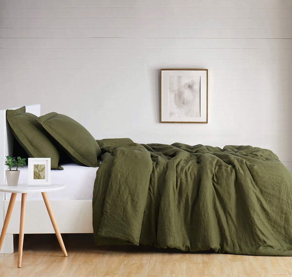 Brooklyn Loom Flax Linen Duvet Set, Queen, Olive Green