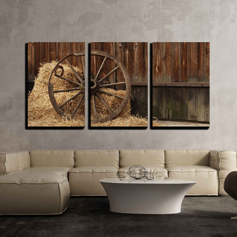 wall26 - 3 Piece Canvas Wall Art - The Old Antique Wheel from cart on Background of hay and barn - Modern Home Decor Stretched and Framed Ready to Hang - 16