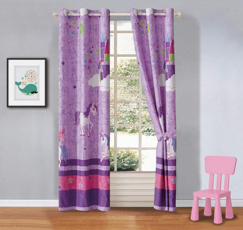 Better Home Style Purple Unicorn Rainbow Stars Printed Fun Multicolors Pink Girls/Kids Room Window Curtain Treatment Drapes 2 Piece Set with Grommets # Unicorn Castle Lavender (Matching Curtain)