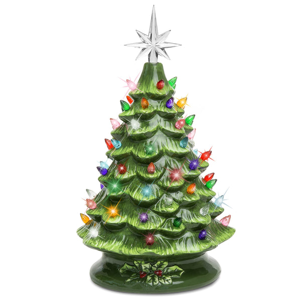 Best Choice Products 15in Ceramic Pre-Lit Hand-Painted Tabletop Christmas Tree Holiday Decor with 64 Multicolored Lights, 2 Star Toppers, Green
