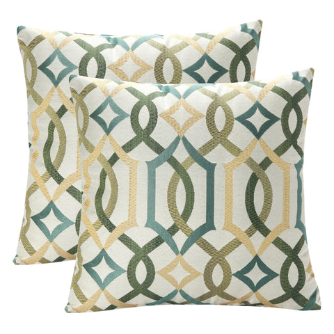 Pack of 2 SimpleDecor Jacquard Geometric Links Accent Decorative Throw Pillow Covers Cushion Case Multicolor 18X18 Inch Green