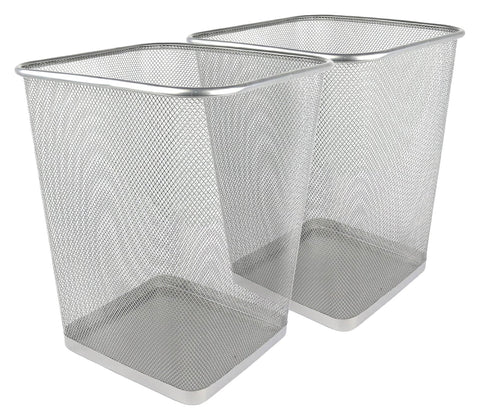 Greenco Mesh Wastebasket Trash Can, Square, 6 Gallon, Silver, 2 Pack