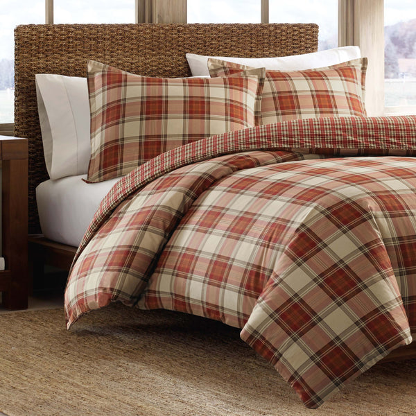 Eddie Bauer Edgewood Plaid Duvet Cover Set, King, Red