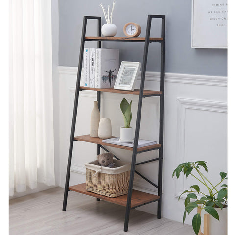Blissun 4 Tiers Ladder Shelf, Vintage Bookshelf, Storage Rack Shelf for Office, Bathroom, Living Room