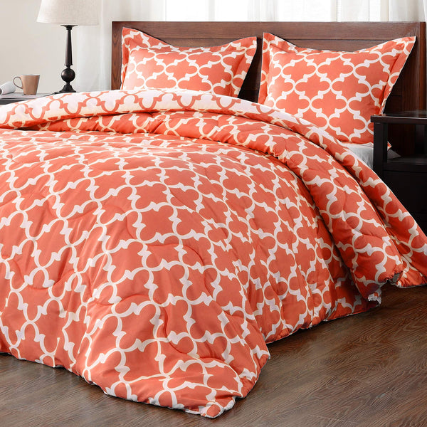downluxe Lightweight Printed Comforter Set (Queen, Coral) with 2 Pillow Shams - 3-Piece Set - Down Alternative Reversible Comforter