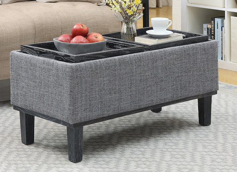 Convenience Concepts Designs4Comfort Brentwood Ottoman, Gray Fabric