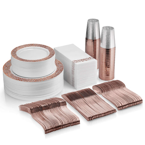 350 Piece Rose Gold Dinnerware Set - 100 Rose Gold Lace Plastic Plates - 50 Rose Gold Plastic Silverware - 50 Rose Gold Cups - 50 Linen Like Rose Gold Napkins, 50 Guest Disposable Dinnerware Set