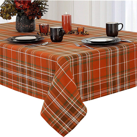 Newbridge Culloden Autumn Harvest Plaid Thanksgiving Fabric Weave Tablecloth, Traditional Bold Rust and Green 100% Cotton Weave Plaid Fall Tablecloth, 60 Inch x 102 Inch Oblong/Rectangle