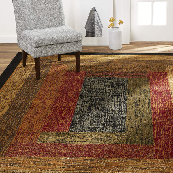 Home Dynamix Vega Modern Area Rug, Geometric Black/Brown/Red 5'2
