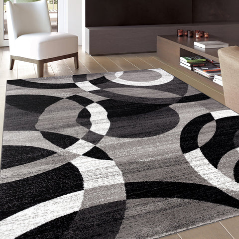 Contemporary Modern Circles Gray Area Rug Abstract 5' 3