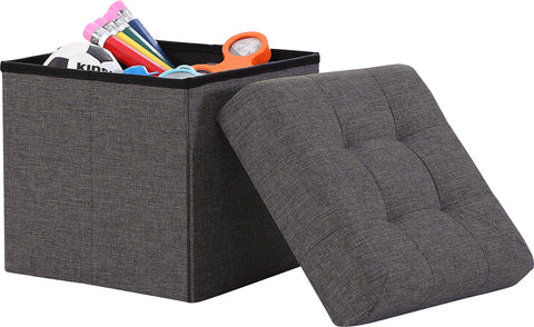 Ornavo Home Foldable Tufted Linen Storage Ottoman Square Cube Foot Rest Stool/Seat - 15