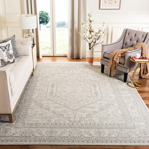 Safavieh Adirondack Collection ADR108B Ivory and Silver Oriental Vintage Medallion Area Rug (8' x 10')