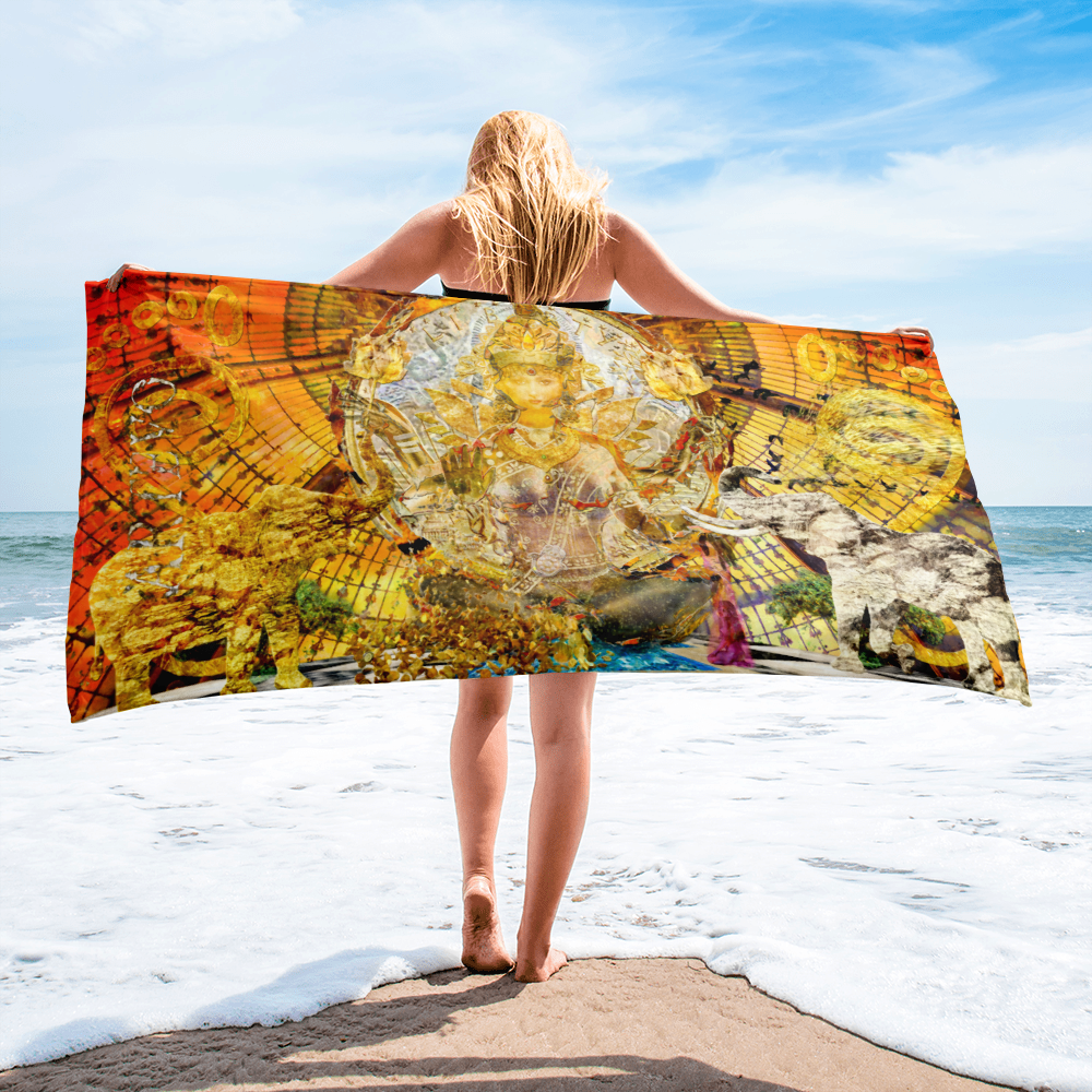 lakshmi health wealth art artevo beach towel