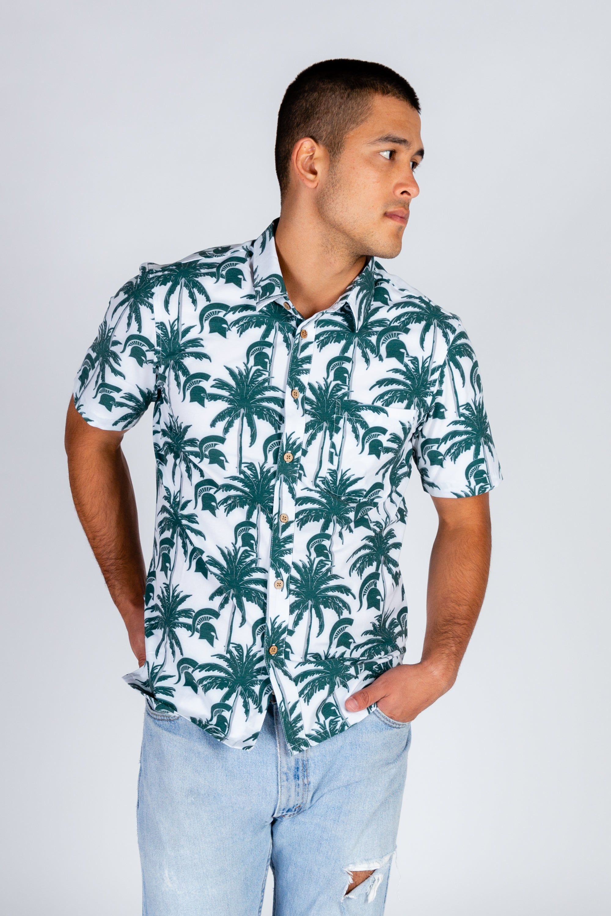 Men's Hawaiian MSU Game Day Shirt