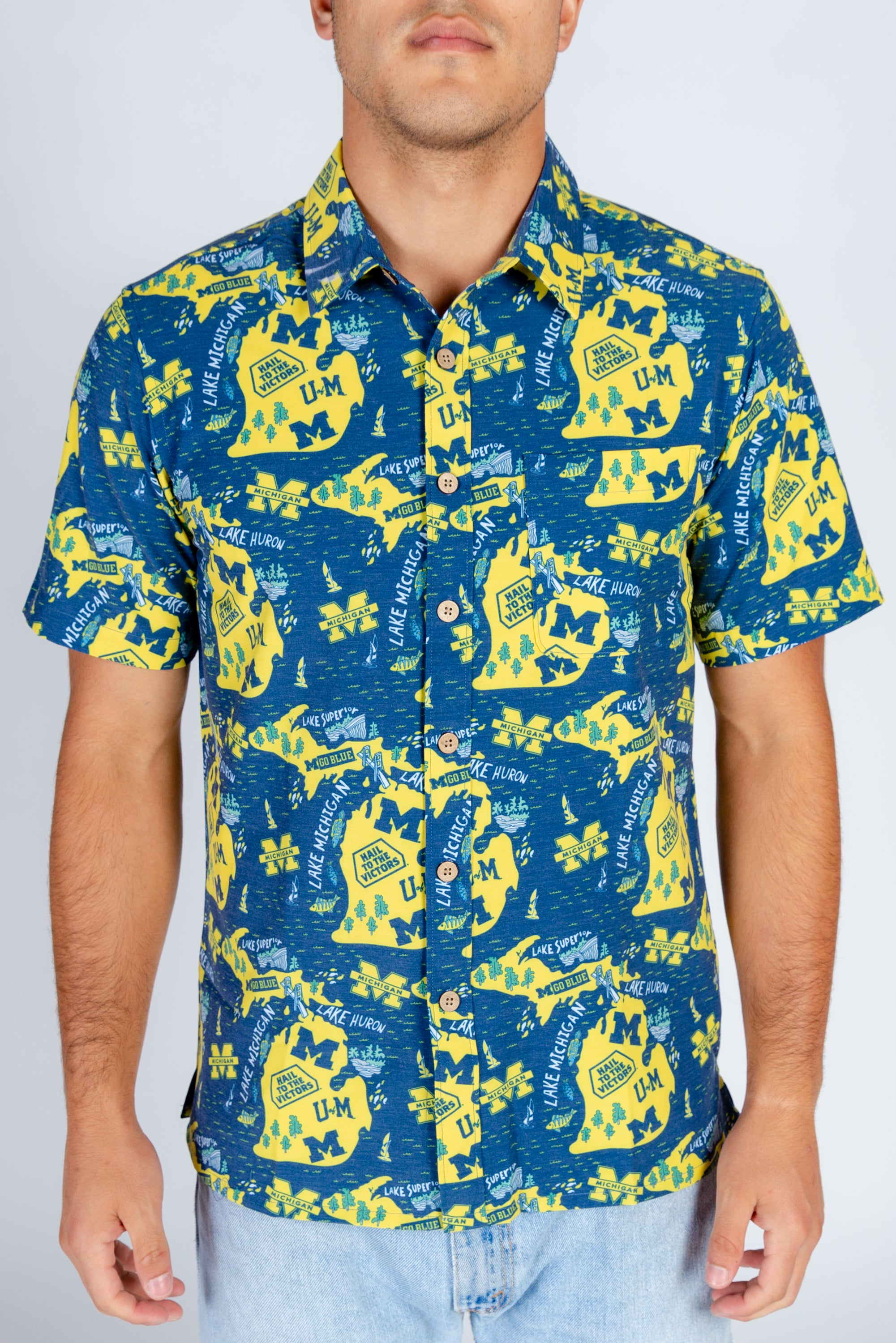 Michigan Tropical Blue and Yellow Shirt