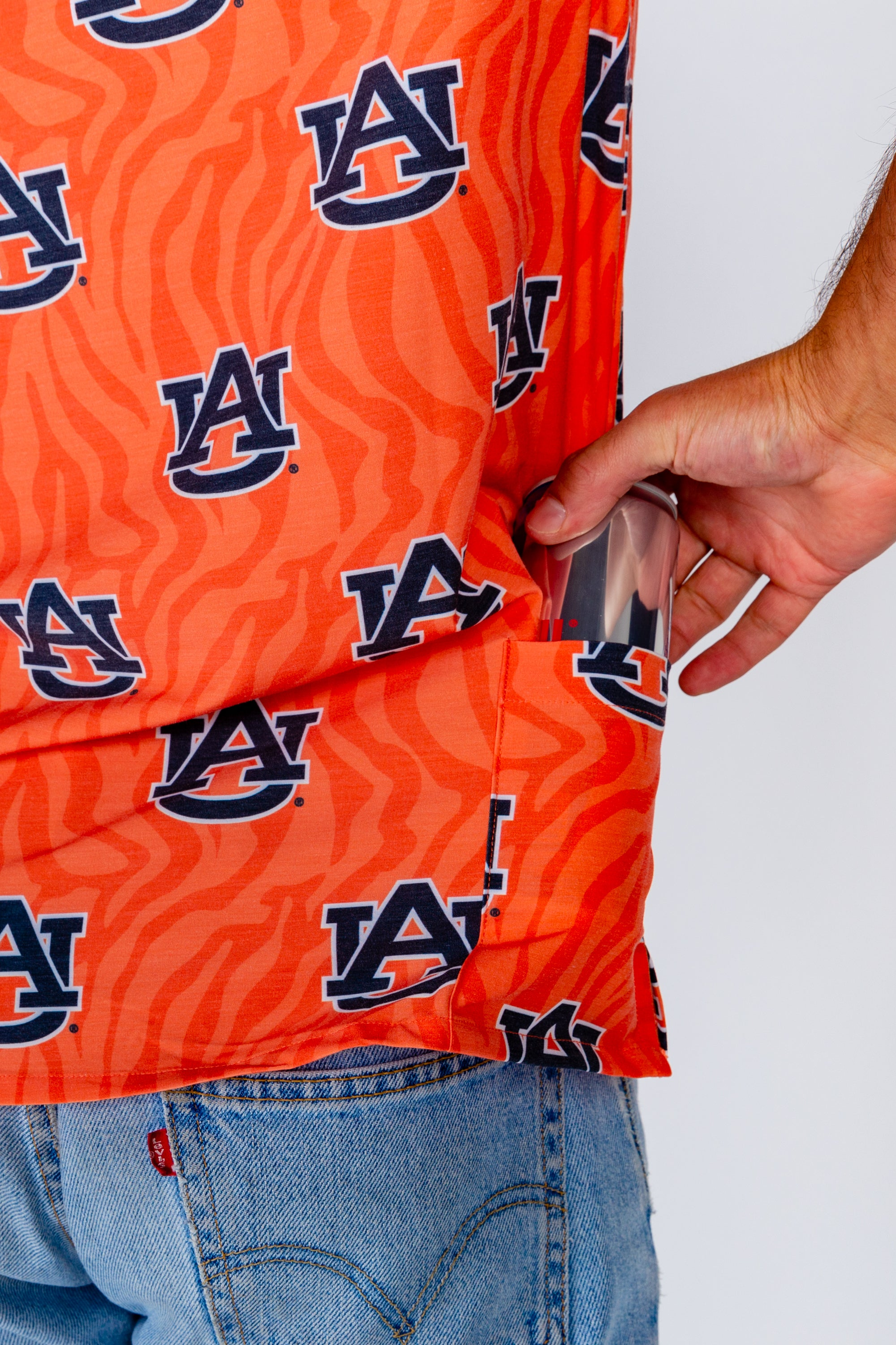 Auburn Tiger Walk Shirt with tailgating pocket